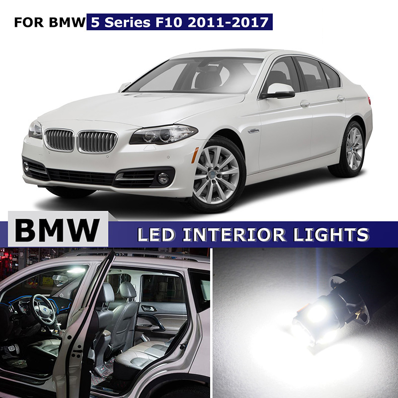 11X Canbus Error Free LED Bulb Interior Light Kit Package Map Dome Trunk Glove License Lights For BMW 5 Series F10 2011-2017 17pcs led canbus interior lights kit package for bmw 5 series e60 e61 2004 2010