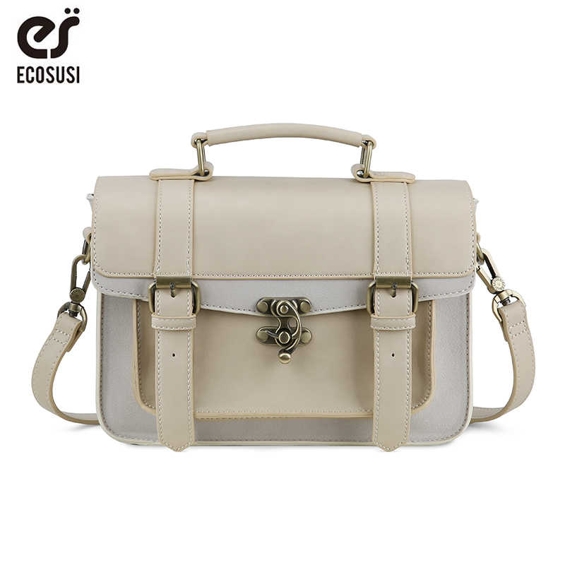 9ab4b632 ECOSUSI новый элегантный дизайн женский портфель Классический Mori Girl для  женщин кожаная сумка сумки для отдыха