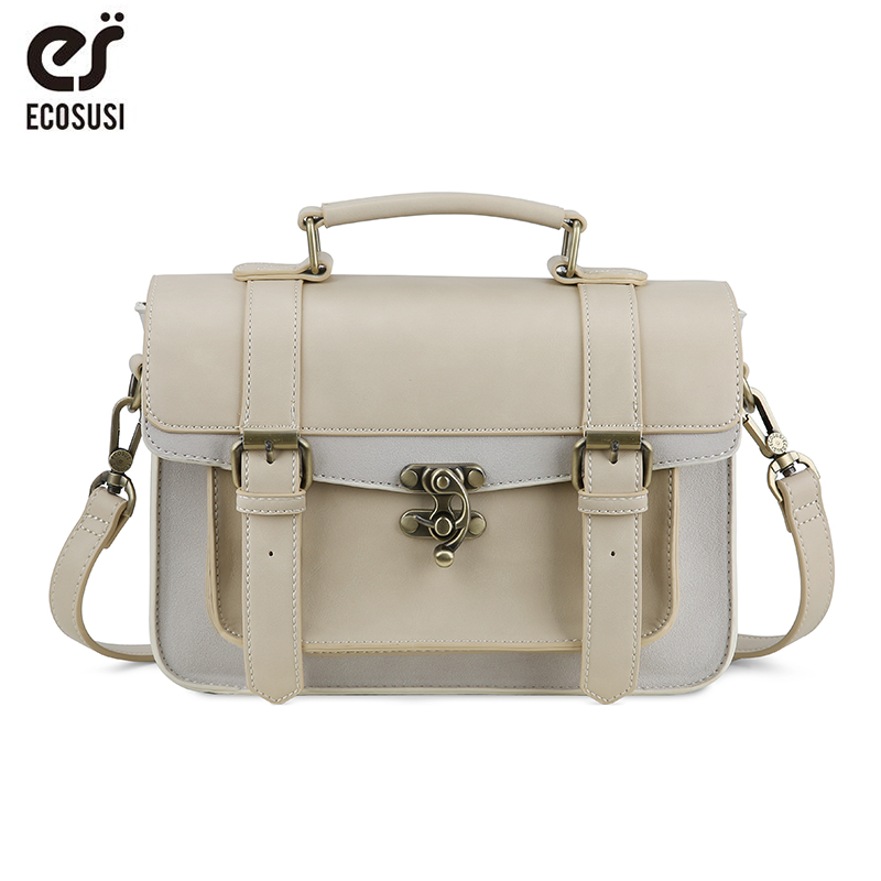 ECOSUSI New Preppy Style Donna Cartella Classic Mori Girl Women Leather Satchel Borse per il tempo libero Borse Messenger donna portatile