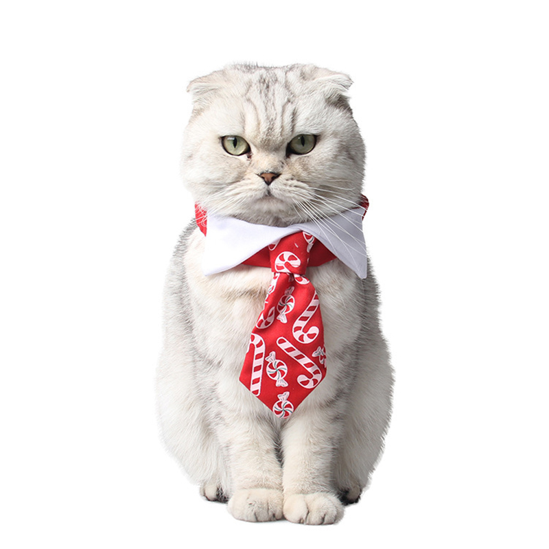 Christmas Cat Tie Candy Print Red Bow Tie For Dogs Pet Collar Birthday Party Funny Costume Cat Accessories Xmas Supplies
