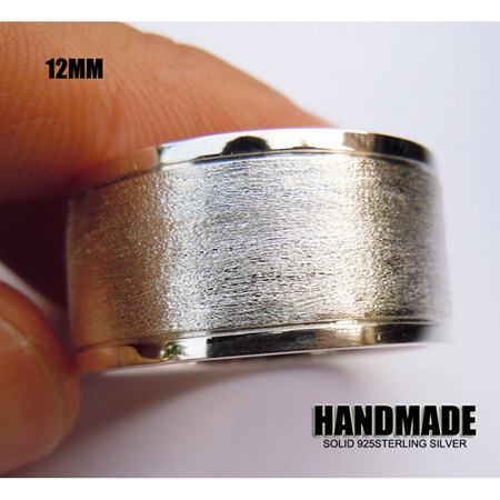 Wellmade 12mm Mens Solid 925Sterling Silver Band Ring цена