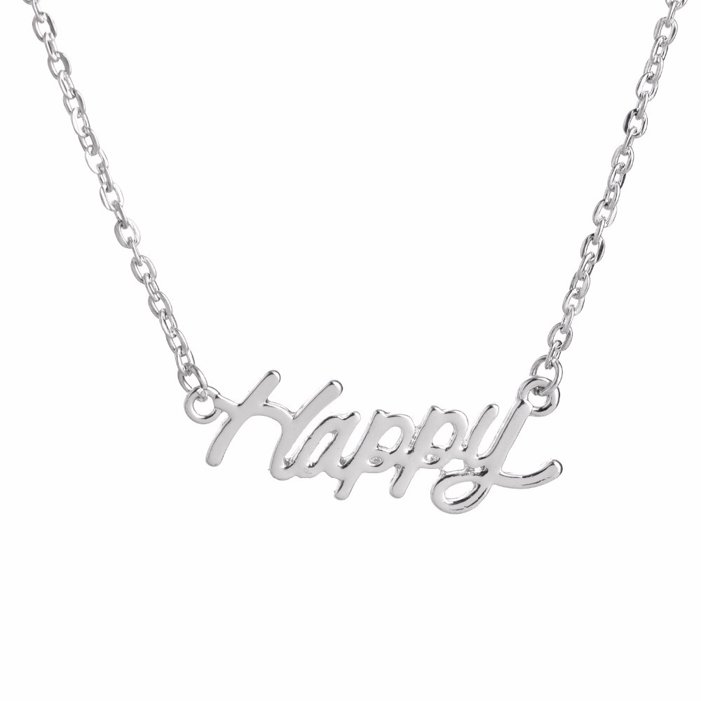 2016 New Letter HAPPY Pendant Necklace ,Silver And Gold Color Simple Word Chokers Necklace Jewelry