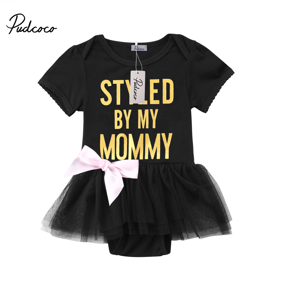 2018 Newborn Baby Girls Romper Toddler Baby Girl Black Romper Party Lace Tulle Jumper Sundress Girls Clothes Outfit 0-2T