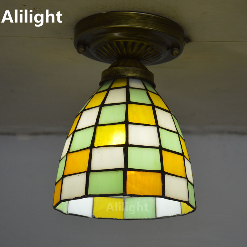 Tiffany Small Ceiling Light Mosaic Stained Gl Flush Mount Lamp Mediterranean Sea Indoor Lighting E27 110 240v Decor Fixtures In Lights From