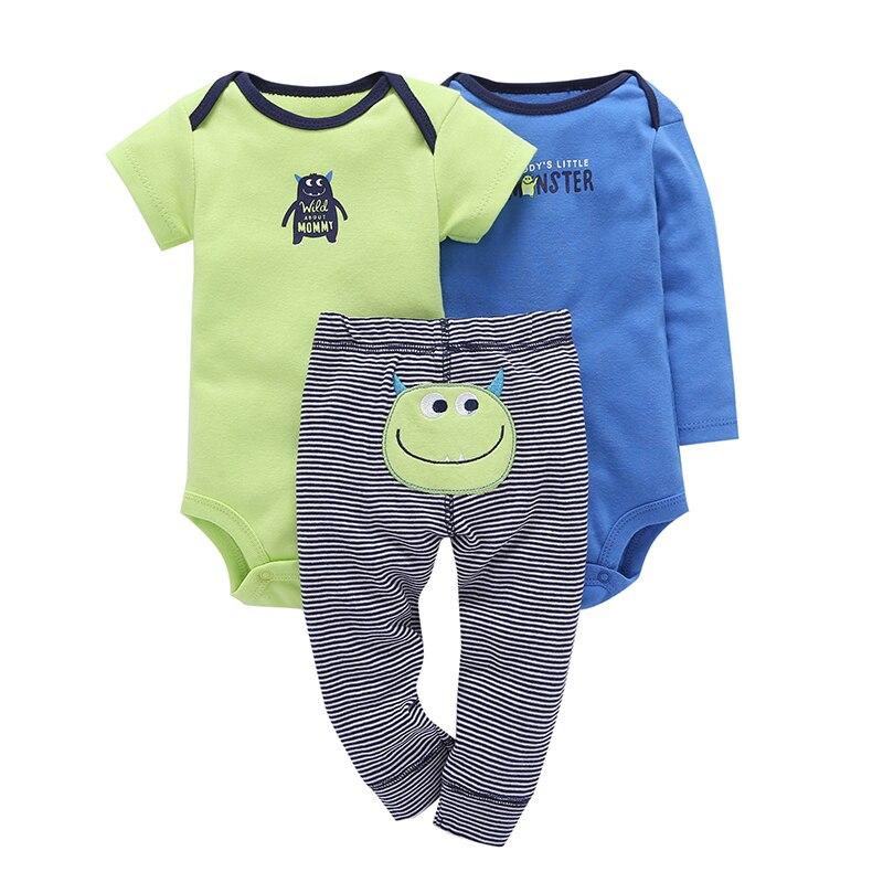 בסך הכל בייבי סטים קריקטורה מפלצת תינוקות בגדים באיכות גבוהה 2019 חדש כותנה Jumpsuits עבור יילוד תינוק בובה ילדה חליפות