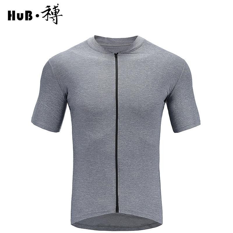 HuB Dark Blue Cation Cycling Jersey With Pocket YKK Zipper Bicycle Short sleeve mtb road Bicycle T-Shirt Bike Clothing maillot