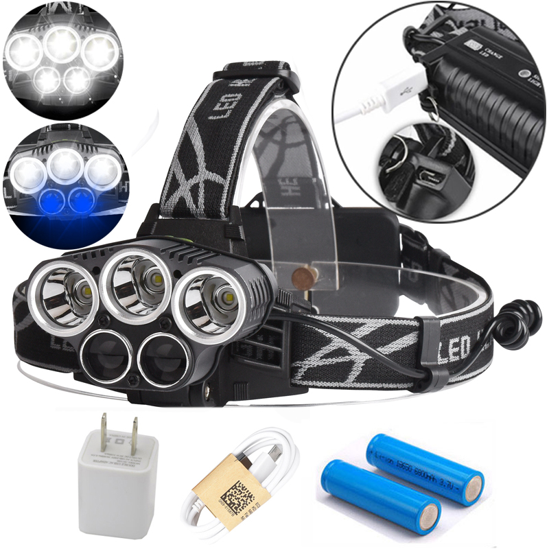3T6+2R5 Headlight 15000 Lumens 5 CREE LED Headlamp Head Lamp Camp Hike Emergency Light Fishing Outdoor Equipment