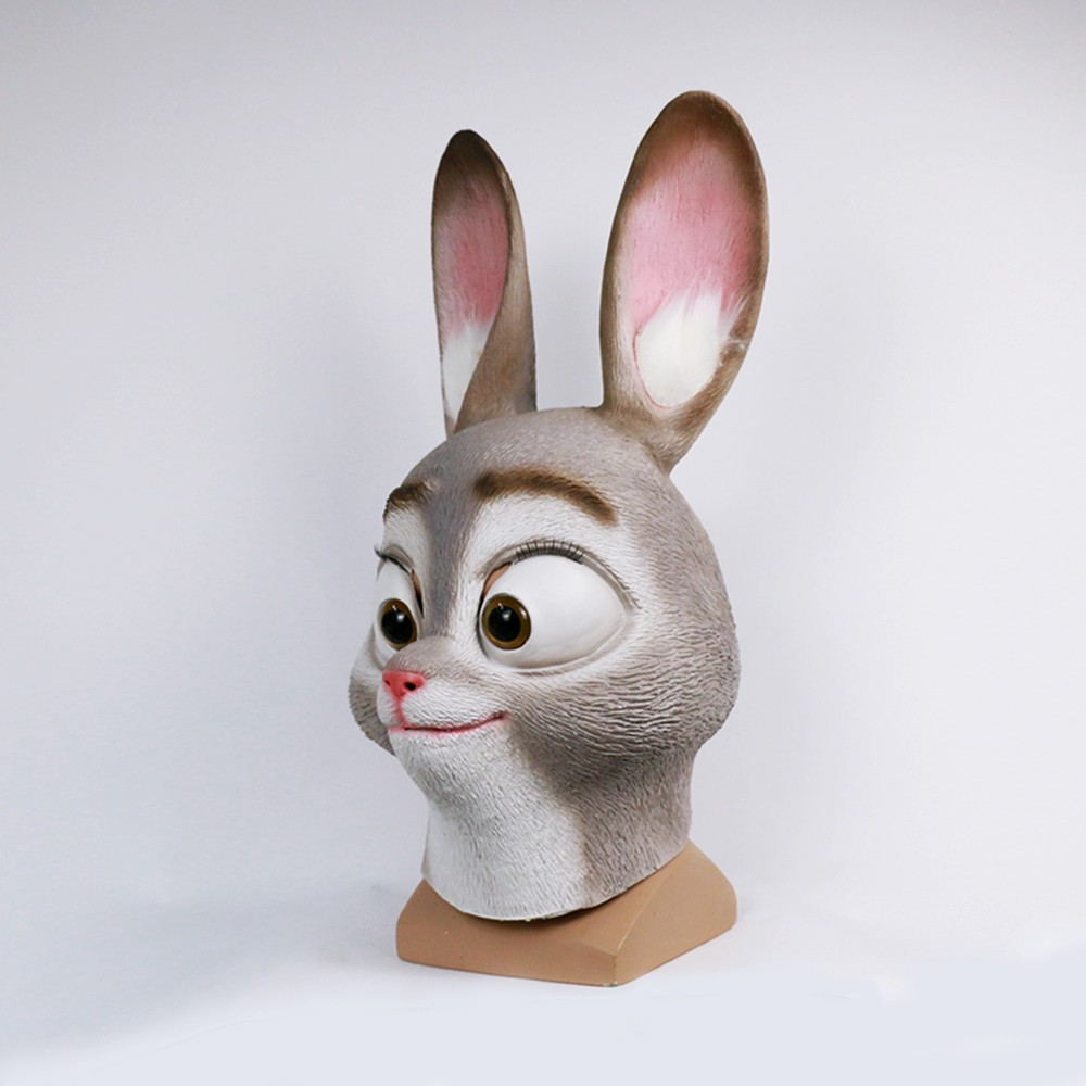 2016 Movie Cosplay Zootopia Judy Hopps Mask Latex Judy Hopps Helmet Judy Hopps Halloween Costume Prop Accessories2