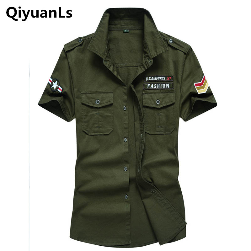 Men Cotton Casual Short Sleeve Shirts Loose Army Military Pockets Breathable High Quality Shirts Pluse Size 6XL Cargo Men Shirts