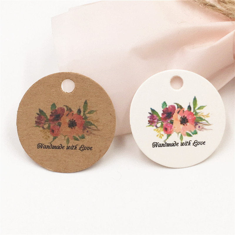100Pcs Round 3 Cm Brown White Paper Tags Colorful Printing With Hemp Strings For Weeding Party Favor Gift Packaging Hang Tag