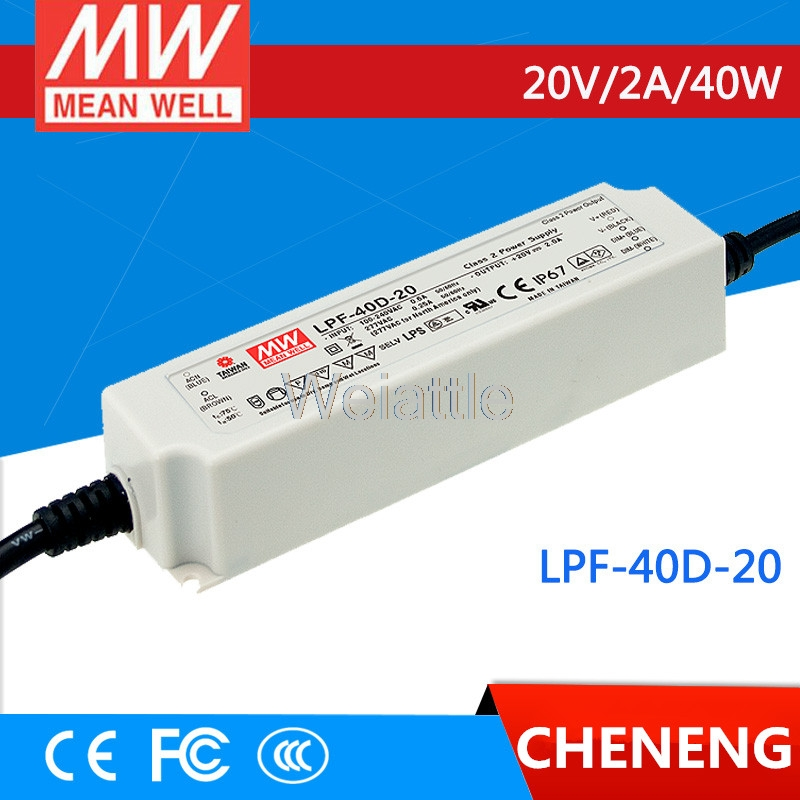 MEAN WELL original LPF-40D-20 20V 2A meanwell LPF-40D 20V 40W Single Output LED Switching Power Supply mean well original npf 40d 36 36v 1 12a meanwell npf 40d 36v 40 32w single output led switching power supply