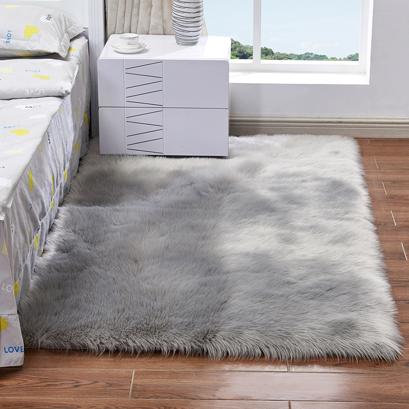 Gray Bedside Mats Hairy Artificial Sheepskin Wool Carpet For Living Room Bedroom Chair Cover Warm Long Fluffy Skin Fur Area Rugs