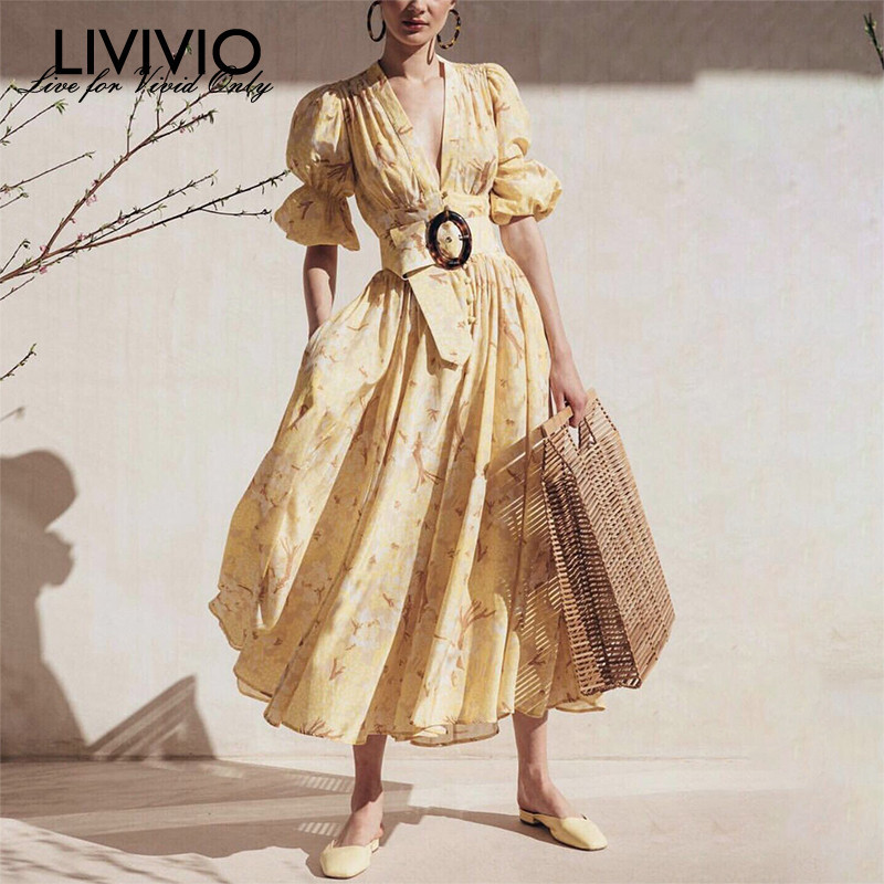 LIVIVIO 2019 Spring Summer Boho Yellow Floral Puff Sleeve V Neck Long Dress with Belt