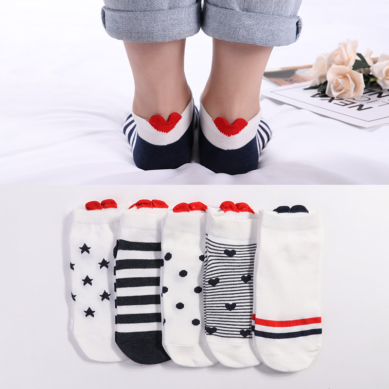 5pairs Women Socks Red Heart Cute College Wind Simple Basic Female Funny Socks Warm Cotton Spring Summer Harajuku Sox Girl Socks