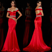 Rot Farbe Mermaid Square Neck Kurzarm Satin Bandage Open Back Sexy Perlen Damen Abendkleid Best Western Kleider