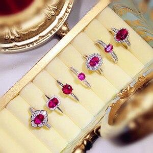 Image 2 - Vintage Palace S925 Sterling Silver Rubino Anelli Aperti Per Le Donne Red Corindone Uovo di Piccione Anel Anello di Barretta