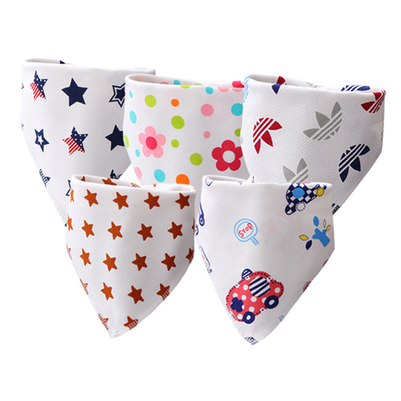 Cotton Baby Bibs Bandana Baberos Bebe Girls Boys Bib Baby Feeding Smock Double-layer Buckle Eating Burp Cloths Baby Things(China)