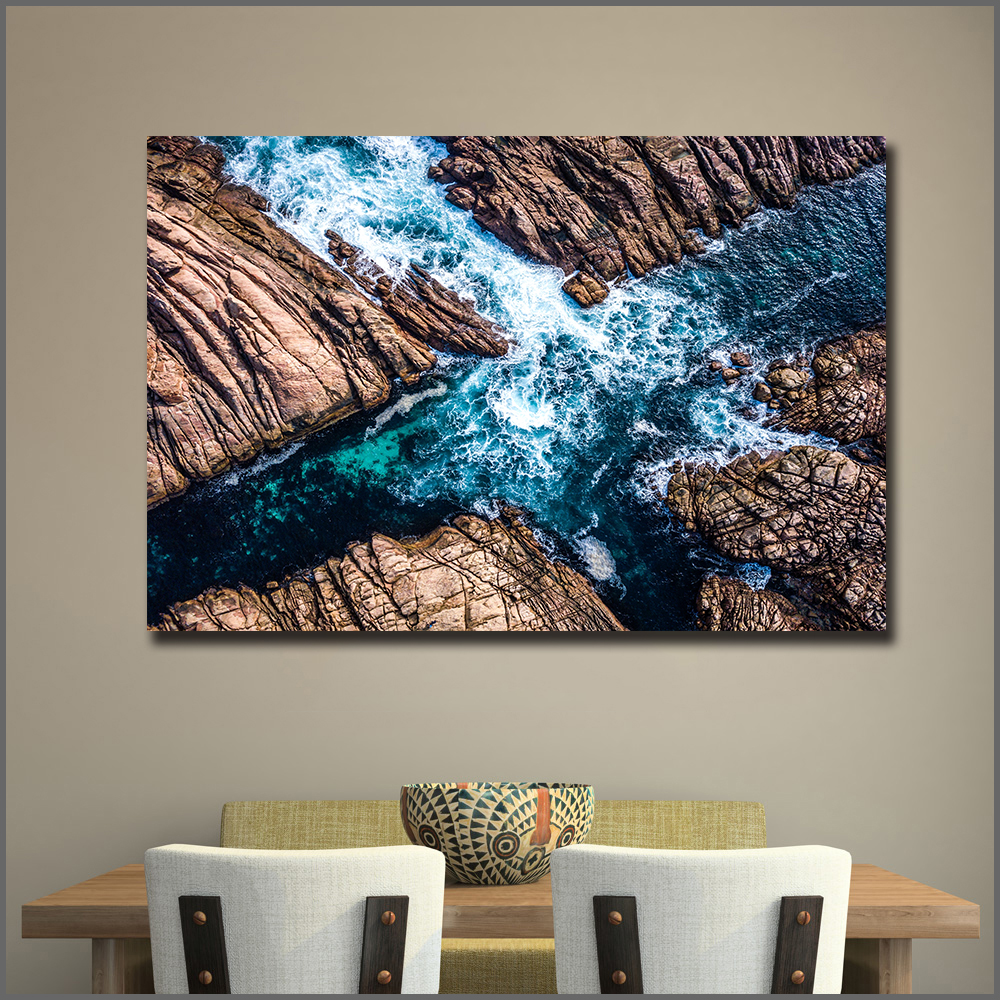Large Size Oil Painting Coast Canal Sea Waves Wall Art