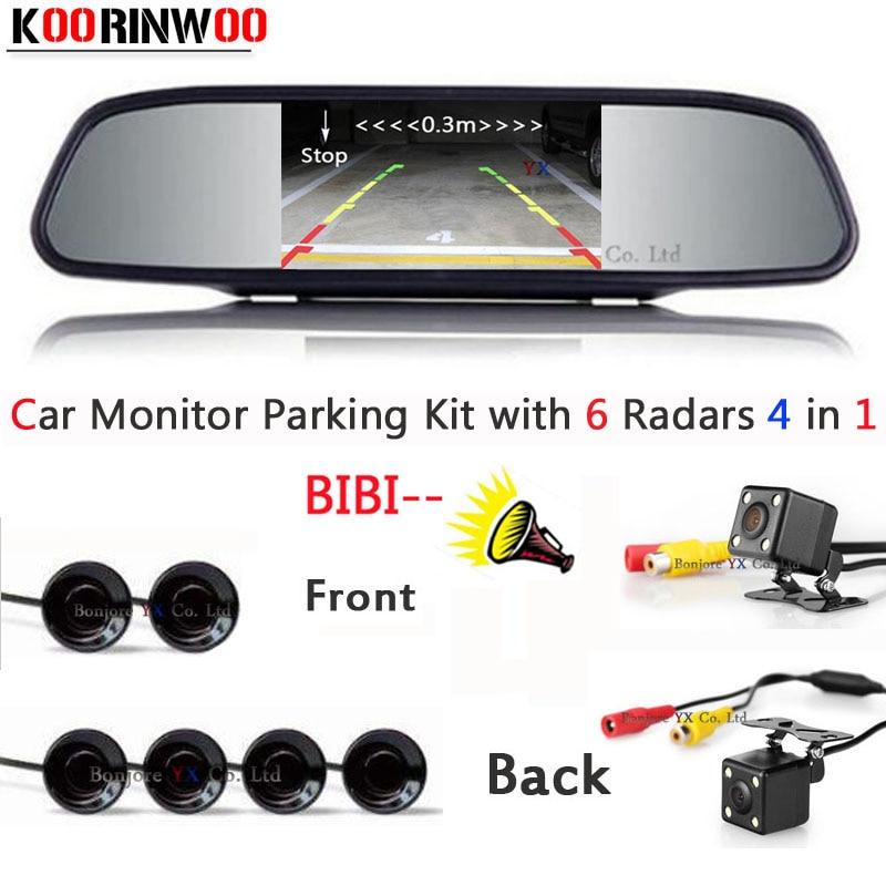 Dual Core CPU Car Parking Sensor Buzzer Reverse Radar 6 CCD Car Front camera Car Rear view camera Parkronics with Car monitor new 4pcs 89341 0n040 c0 89341 0n040 pdc parking sensor bumper object reverse assist radar for toyota
