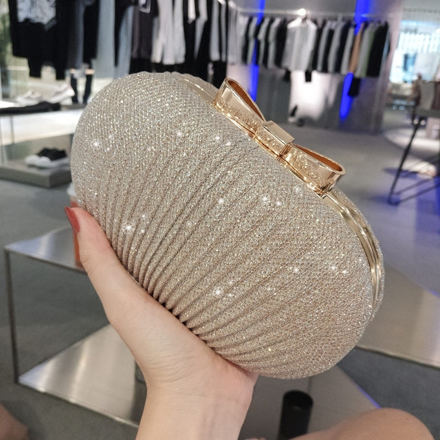 317ff05bff2e Small Round Hard Case Gold Sequined Clutch Bag Evening Bags Women Party  Prom Wedding Purse Matching Shoes and Dress Clutch-in Top-Handle Bags from  ...