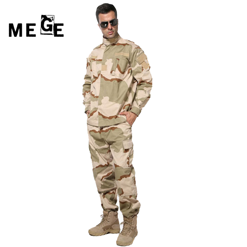 MEGE Tactical Camouflage Ghillie Hunting Suit, Airsoft Paintball Combat Assault Uniform, Military Army Clothing men combat field shirt long cargo pant hunting airsoft ghillie suit camouflage clothes military bdu tactical uniform set