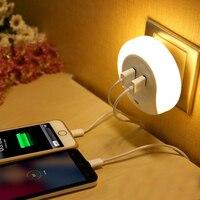 A ESTRENAR buena calidad LED Night light con sensor de luz y puerto de carga USB doble cargador de pared placa de pared ee.uu. regulación