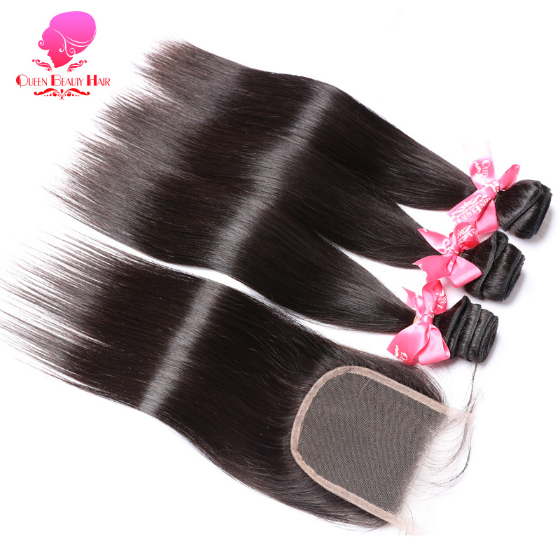 QUEEN Free Middile Part Lace Closure with Bundles 2 3 4 Pcs Remy Human Hair Brazilian