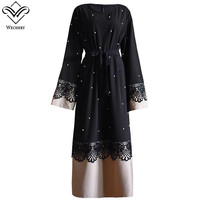 Wechery Elegant Lace Dress Dubai Turkish Islamic Clothing Lace Floral Spiced Abaya Kaftan Dresses Plus Size