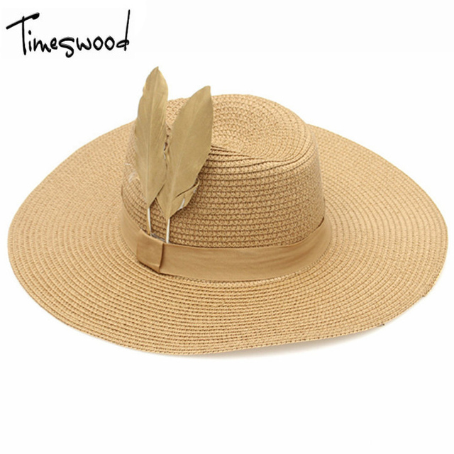TIMESWOOD  Ladies Adult Novelty Straw Cowboy Hats For Women Sunhat Summer  Big Brim Hat Ladys Sun Cap Feather Woman d76b30aeb42