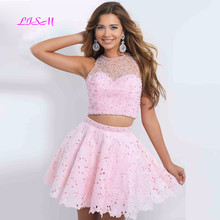 Pink Two Pieces Lace Mini Homecoming Dress Scoop Beadings Crop Top Short Prom Gown A-Line Crystal Tulle Special Occasion Dresses