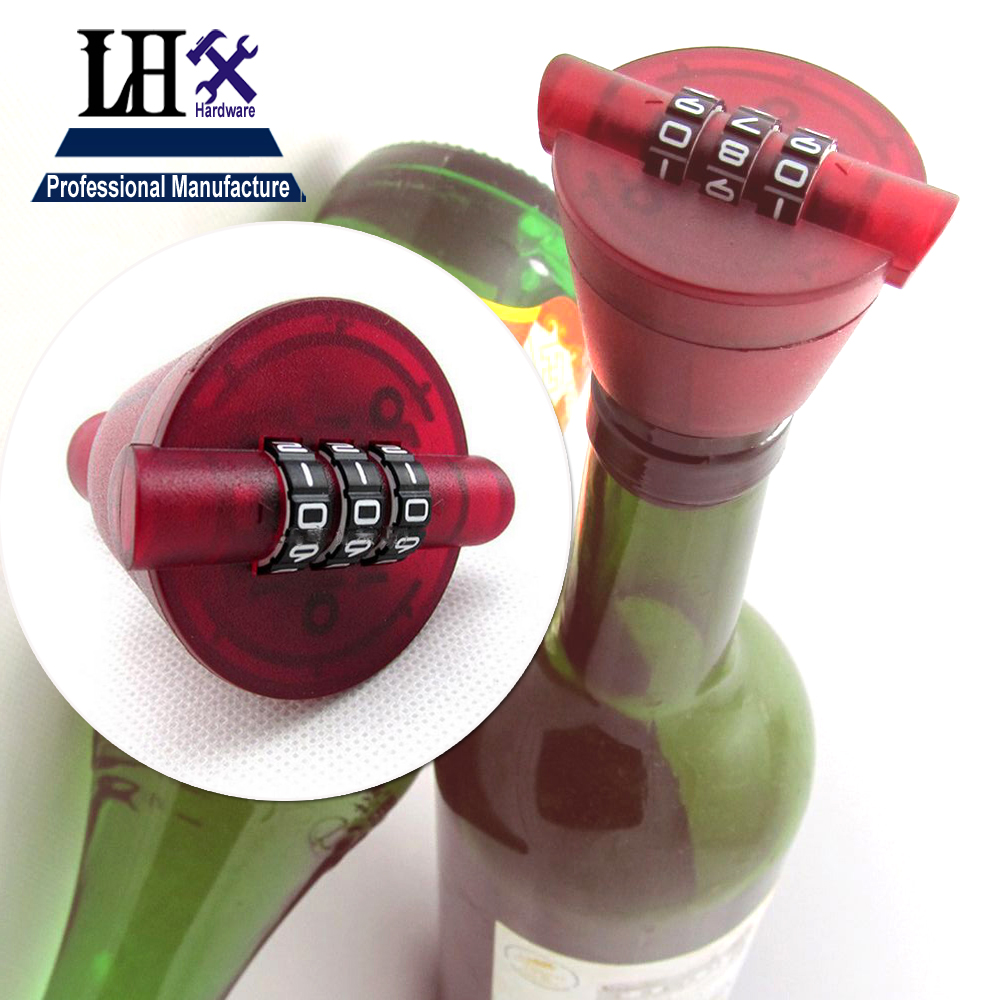 LHX ABS Red Wine Bottle Locks Password Wine Cork Bottle Stopper Preservation Device Combination Lock aLHX ABS Red Wine Bottle Locks Password Wine Cork Bottle Stopper Preservation Device Combination Lock a