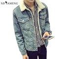 Forro de lã de inverno homem jeans jaqueta jeans turn-down collar casaco engrossar aquecimento único outerwear moda men clothing 13m0685
