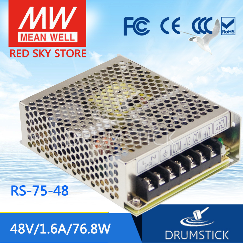 Genuine MEAN WELL original RS-75-48 48V 1.6A meanwell RS-75 48V 76.8W Single Output Switching Power Supply meanwell rs 25 48 single output power
