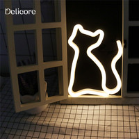 DELICORE New USB Battery Neon Lamp Holiday Light Novelty Sexy Cat Shaped Table LED Night Light