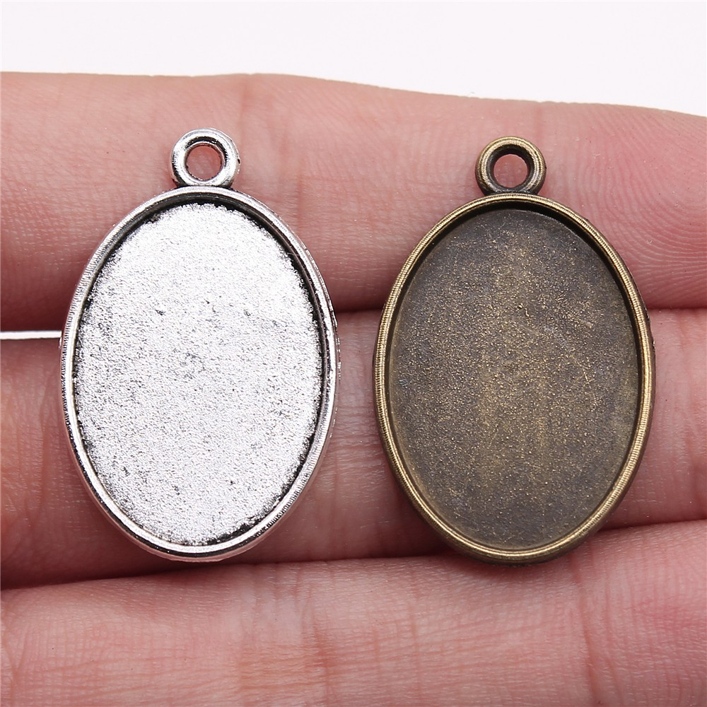 20pcs <font><b>18x25mm</b></font> Inner Size Simple <font><b>Oval</b></font> Shape Antique Bronze Antique Silver Color Zinc Alloy Cameo <font><b>Cabochon</b></font> Base Setting Pendant image