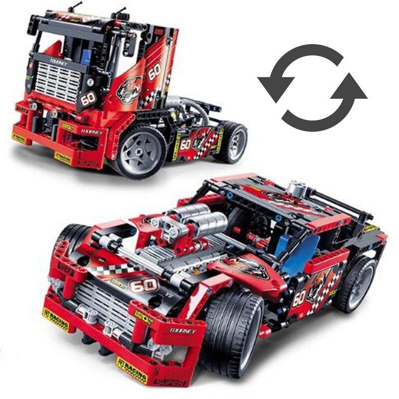 624 stücke Race Truck 2 Modelle In 1 Autos Wandelbare Modell Baustein Sets DIY Spielzeug für Jungen Kompatibel mit legoed Technie