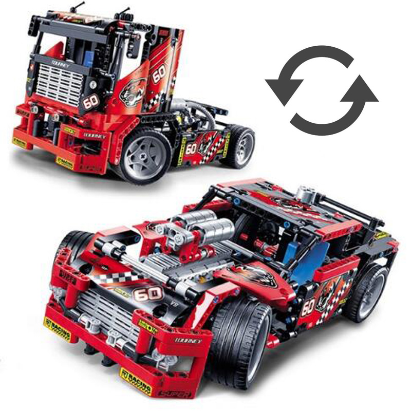 624pcs Race Truck 2 Models In 1 Cars Transformable Model Building Block Sets DIY Toys for Boys Compatible with Legoed Technie