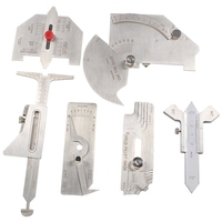 6Pcs Welding Gauge Weld Inspection Gauge Weld Seam / Round Corner / Crown Test Size Ruler Angle Measurement Kit Combination Se