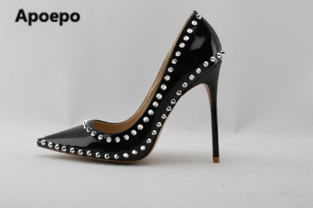 Apoepo brand Rivet Studded High Heel Shoes 2018 Pointed toe Thin Heels Shoes Woman Sexy Slip-on Pumps Black Patent Leather pumps hee grand sweet patent leather women oxfords shoes for spring pointed toe platform low heels pumps brogue shoes woman xwd6447