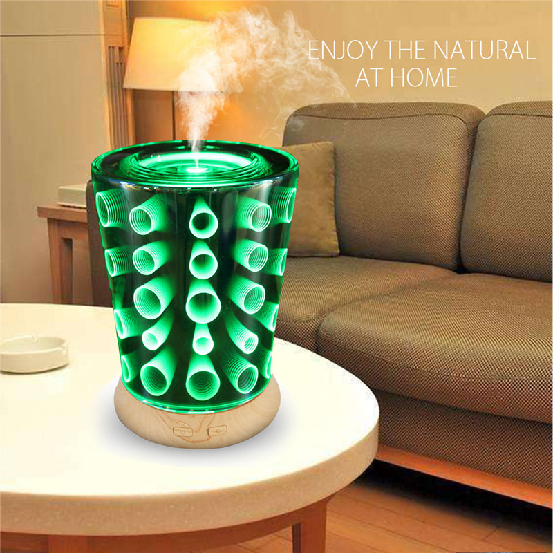 Ultrasonic Aromatherapy Essential Oil Diffuser Home Humidifier 3D Night Lights Effect Ultra-quiet Portable 100ML LED 100ml 3d light essential oil aroma diffuser ultra quiet portable ultrasonic humidifier aromatherapy 12w 100 240v