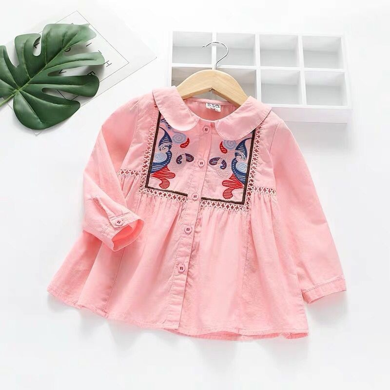 2019 spring new style pattern embroidery childrens lining skirt hollow stitching doll collar girl skirt k12019 spring new style pattern embroidery childrens lining skirt hollow stitching doll collar girl skirt k1