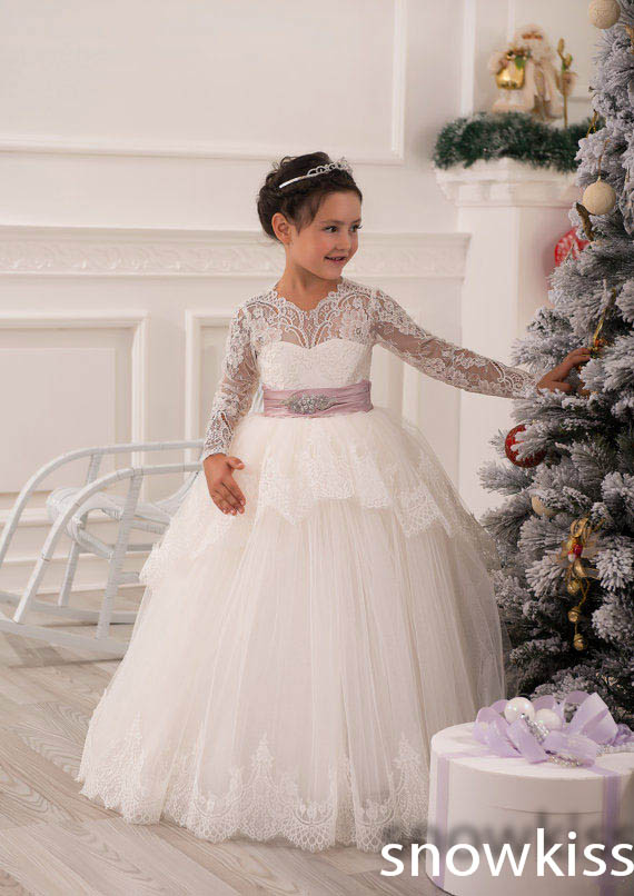 White/Ivory sheer lace long sleeves first communion Flower Girl Dress for juniors vintage kids puffy prom gowns for wedding new white ivory flower girl dresses for wedding 3d flowers puffy tulle with big bow girls first communion gowns