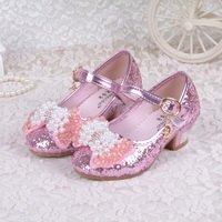 Girls Princess Dress Shoes Chaussure Fille Children High Heel Party Shoes Bowtie Bling Bling Shoes For