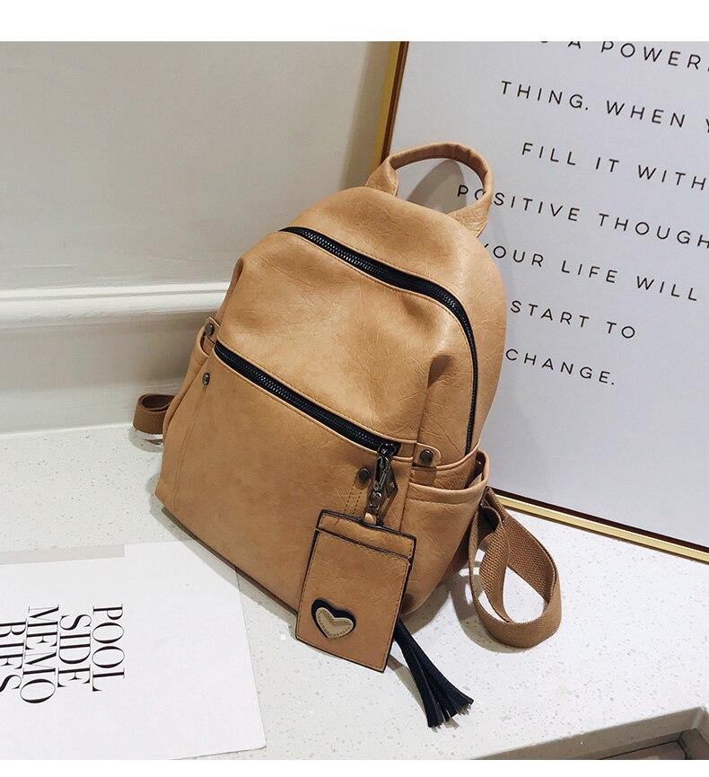 HTB1JANrcRGE3KVjSZFhq6AkaFXar Women Leather Backpack Teenage Girls School Bag Female Vintage Large Solid Soft Backpacks Mochila Black Back Pack Bags New XA86H