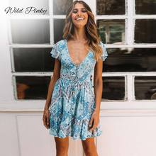 WildPinky Boho Dress Floral Print V-neck Buttons Loose Bohemian Chic Summer Dresses Mini Beach Women Vestidos De Verano