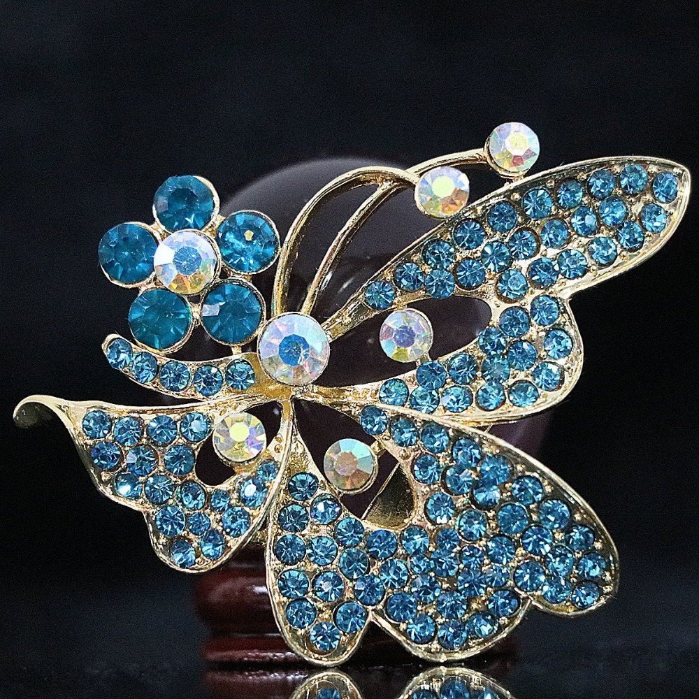 New Multicolor animal brooch fashion butterfly shape 51*64mm flower crystal gold plated charms gift Lovely pins jewelry B1228