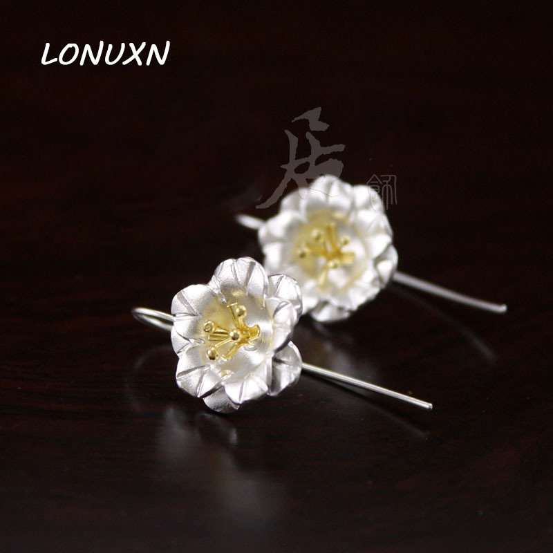 16 MM pur à la main mode nouvelle 925 en argent Sterling boucles d'oreilles pour les femmes, fleurs fraîches fille femmes amoureux meilleur cadeau