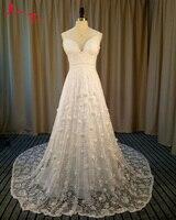 Jark Tozr Spaghetti Straps V Neck Backless Sexy Beach Wedding Dresses 2017 Flowers Bridal Gowns Plus