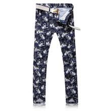 2017 мужчина джинсы Печати Человек Джинсовые Брюки Моды Покрытием Тонкие Джинсы