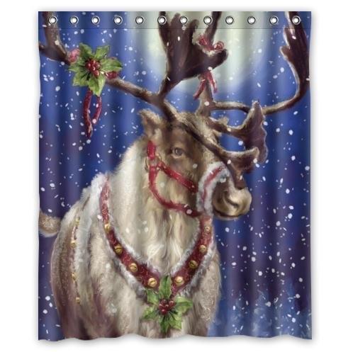 Fashionable Christmas Reindeer Deer Print Waterproof Bathroom Decor,Polyester Fabric Shower Curtains